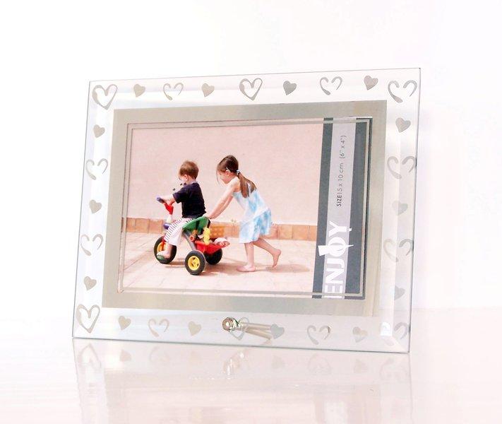 hausderherzen bilderrahmen aus geschliffenem glas mit herzen. Black Bedroom Furniture Sets. Home Design Ideas