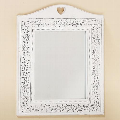 spiegel mit herz weiss shabby verzierung am rand holz. Black Bedroom Furniture Sets. Home Design Ideas