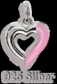 Anhänger Herz Schmuckanhänger 925 Silber mit Lack - pink
