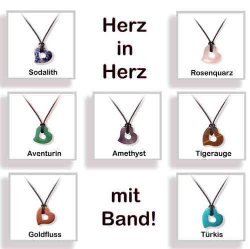 HERZ in Herz Edelstein Anhänger mit Band