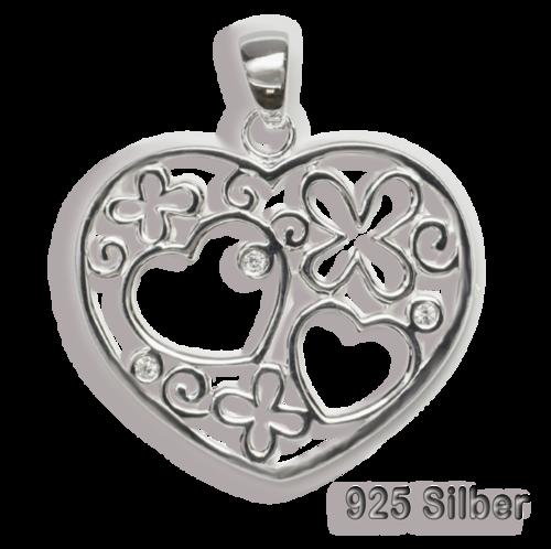Anhänger Herz mit 3 Zirkonia 925 Silber