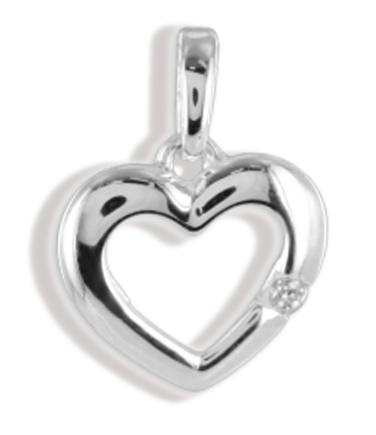 Anhänger Herz Hochglanz mit Zirkonia  925 Silber