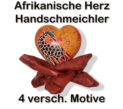 Speckstein Herz Handschmeichler aus Afrika,  - Handarbeit mit Holzständer