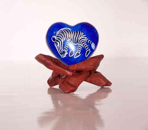 Speckstein Herz Handschmeichler aus Afrika,  - Zebra