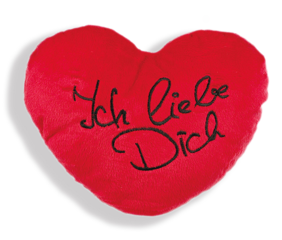 Herz Kissen - Plüschkissen - Kissenherz 35 cm -  Ich liebe Dich