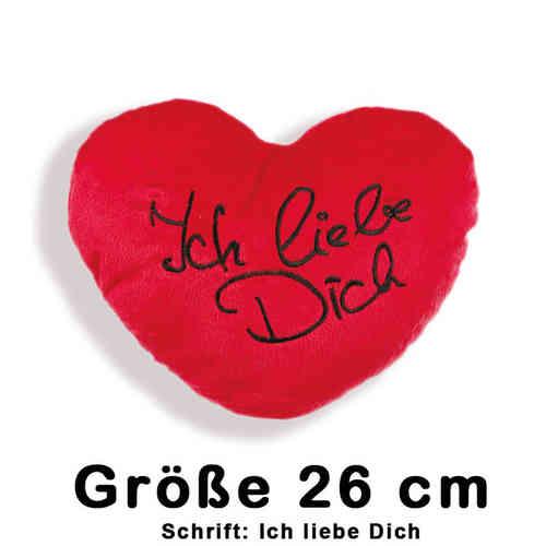 Herz Kissen - Plüschkissen - Kissenherz 26 cm mit Schrift: Ich liebe Dich