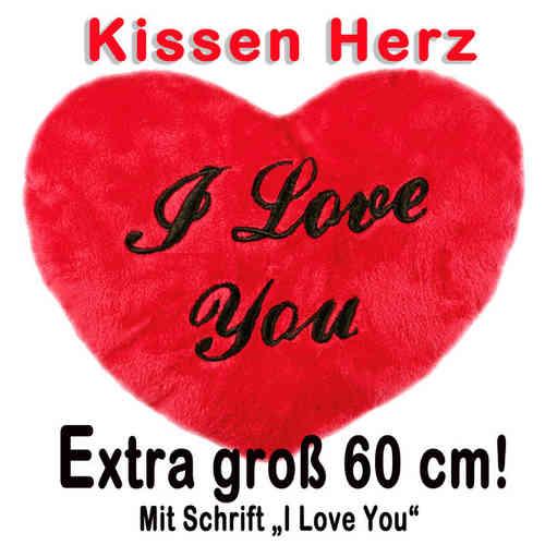 Flauschiges Herz Kissen - Plüschkissen - Kissenherz XXL I Love You