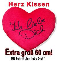 Flauschiges Herz Kissen - Plüschkissen - Kissenherz XXL Ich liebe Dich