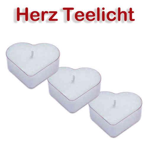 3 x Teelichter in Herzform /weiß, Kerze aus 100 % pflanzlichem Stearin