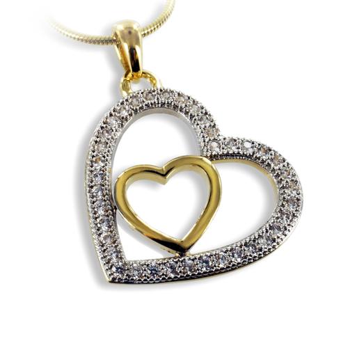 Anhänger Herz in Herz vergoldet mit 38 Zirkonia