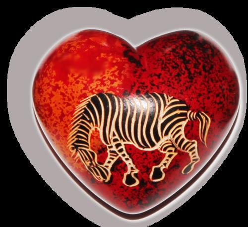 Herz Handschmeichler aus Afrika, Speckstein - Zebra