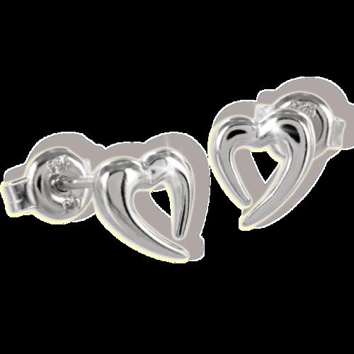 Ohrstecker Herz hochglanz und rhodiniert 925 Silber