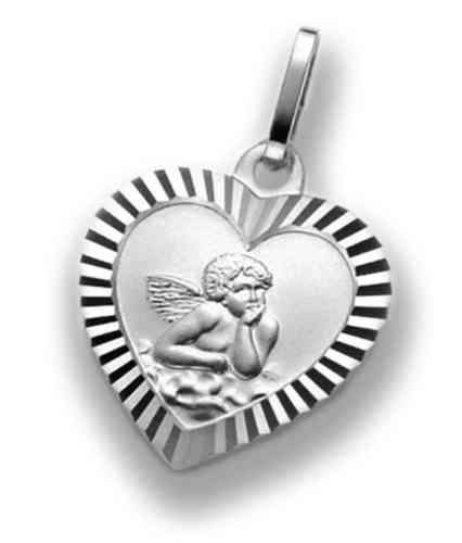 Herzanhänger mit Engel - Schutzengel 925 Silber