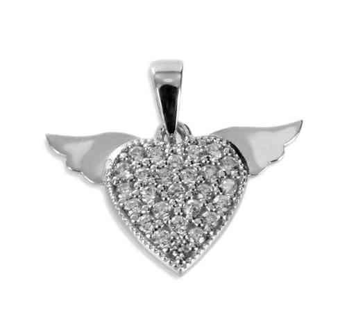 Schmuckanhänger - Anhänger Herz mit Flügeln 925 Silber + 26 Zirkonia