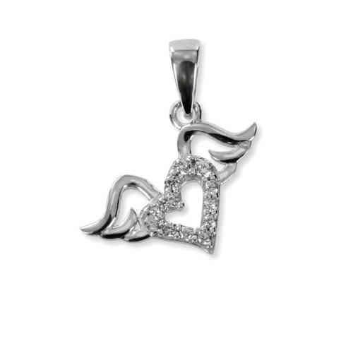 Schmuckanhänger - Anhänger Herz mit Flügeln 925 Silber + 12 Zirkonia