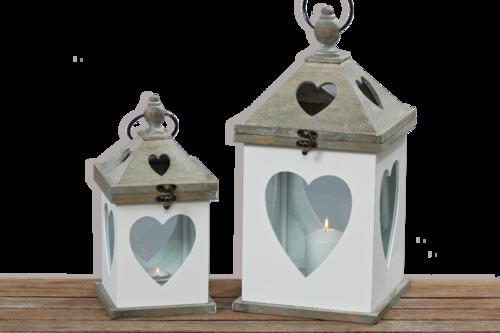 Laterne - Windlicht Herz Holz mit Glas Herzlaterne