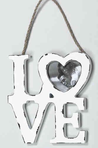 Bilderrahmen Herz - Love, Herzform weiß