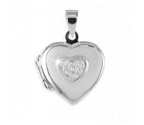 Anhänger Medaillon Herz 925 Silber Herzform zum Öffnen 3 Zirkonia