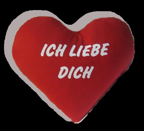 Herz Kissen - Plüschkissen - Kissenherz -- Extra groß 60 cm ! Ich liebe Dich - Schrift weiss!
