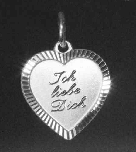 Herzanhänger - diamantiert mit Gravur Ich liebe Dich
