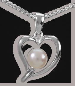 Anhänger Herz hochglanz 925 Silber + Perle