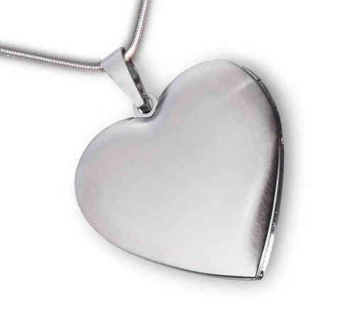 Herz Medaillon mattiert - Edelstahl mit Kette