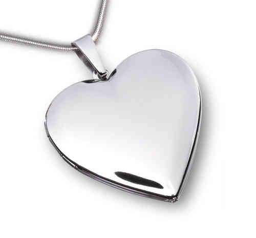 Herz Medaillon hochglanz - Edelstahl mit Kette