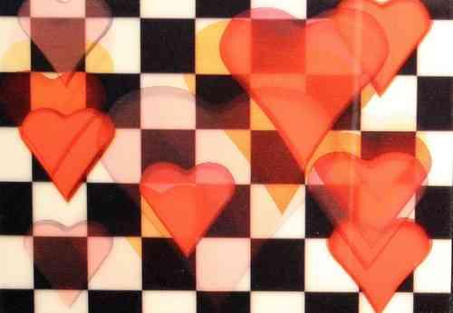 Wackelkarte -  Schachbrett - Herzen -