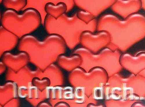 Postkarte - 3D Herzen   -