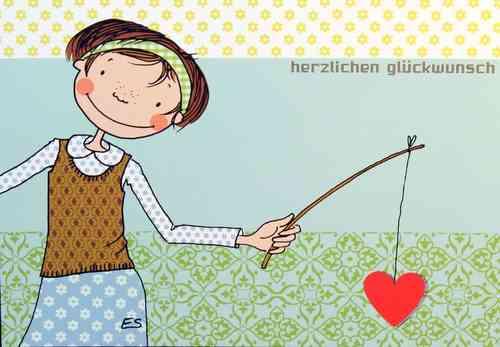 Postkarte - HERZLICHEN GLÜCKWUNSCH  -