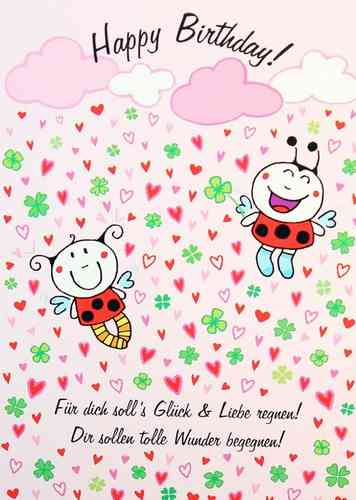 Postkarte - HAPPY BIRTHDAY GLÜCK UND LIEBE  -