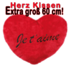 Herz Kissen - Plüschkissen - Je t'aime - Herzkissen - Extra groß 60 cm !!