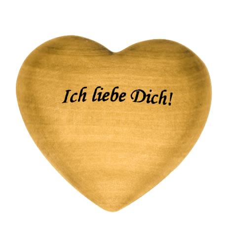 """Holzherz mit Beschriftung """"Ich liebe Dich"""""""