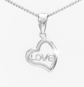 Herzanhänger Love -  925 Silber