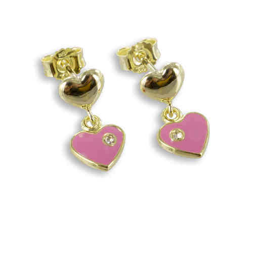 Kinder Ohrstecker Herzen mit Kristall 333 Gold