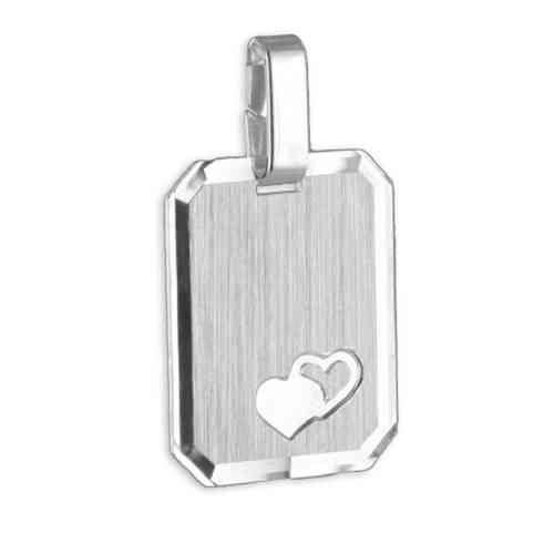 Gravurplatte teilmatt und diamantiert mit Herzen 925 Silber