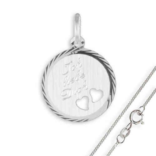 Anhänger / Gravurplatte mit Herzen925 Silber