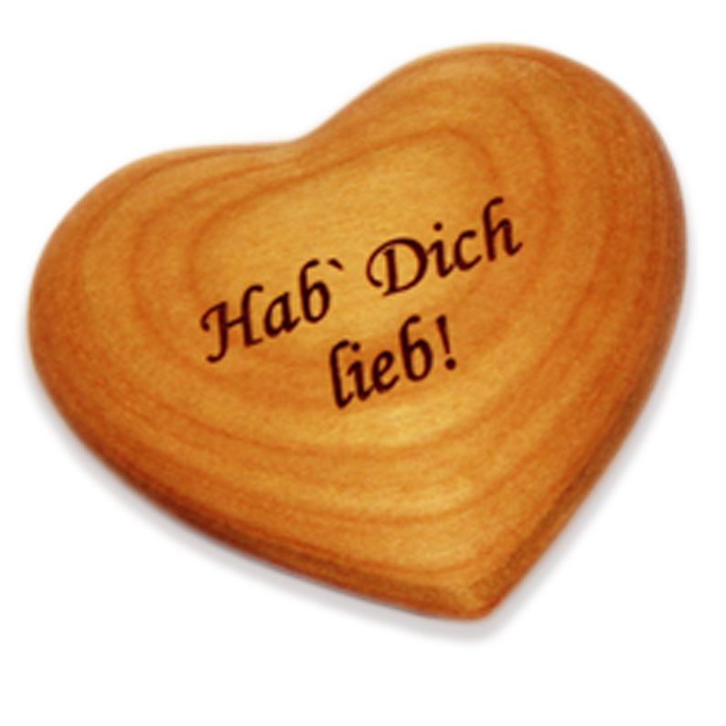 Holzherz mit Beschriftung - Hab Dich lieb