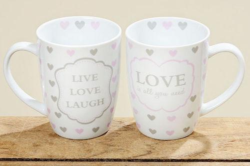 Tassen 2er Set Kaffeebecher Kaffeetasse Becher Teetasse - mit Herz Design Love