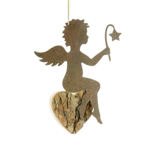 Engel Hänger mit Stern Schutzengel Dekoration Holz mit Rinde natur
