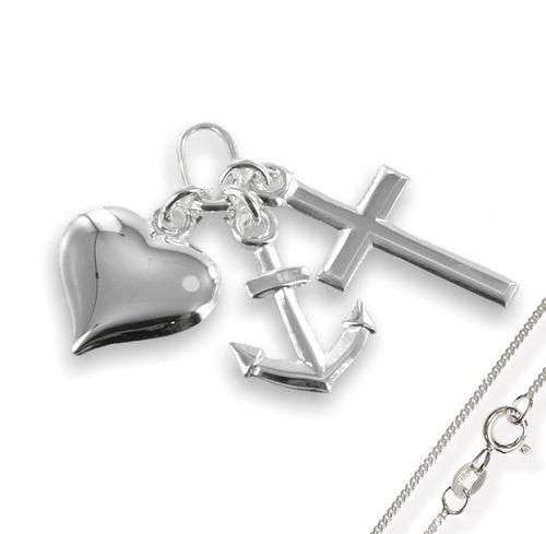 Anhänger 925 Silber Glaube Liebe Hoffnung