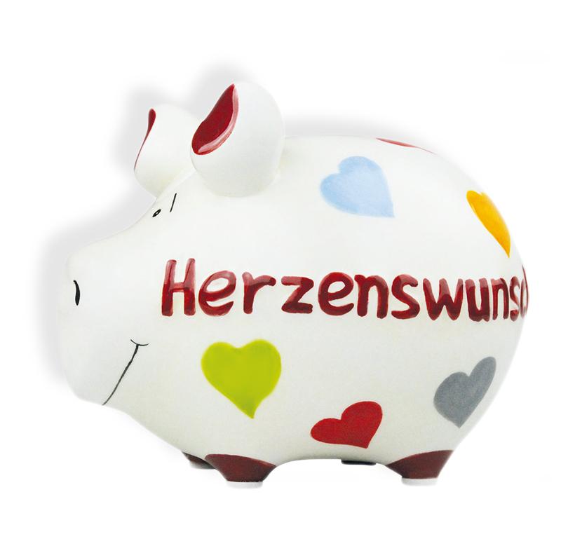 Sparschwein mit Herz Spardose Sparbüchse Keramik Hochzeit Geldgeschenk - Herzenswunsch