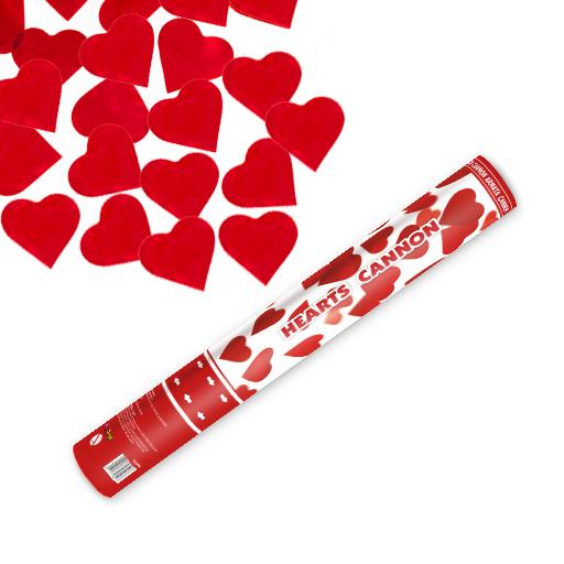 Herz Konfetti Shooter 40 cm ! Popper Kanone Konfettikanone rote Herzen