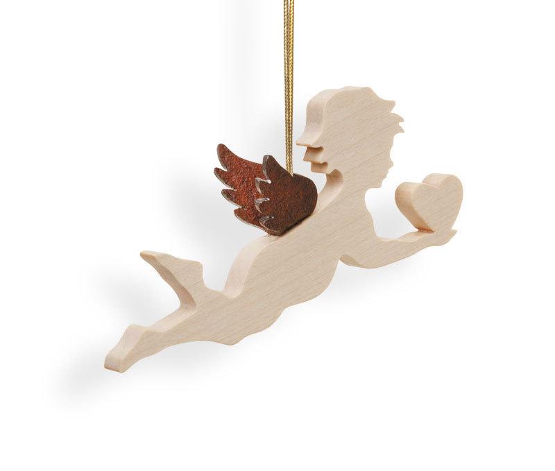 Engel mit Herz Schutzengel Dekoration Holz Ahorn Engelsflügel