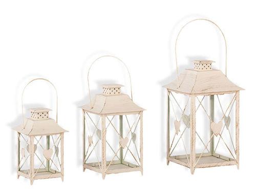 Laterne mit Herz 3er Set Windlicht  Gartendeko Kerze Teelicht creme