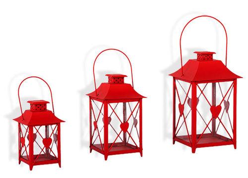 Laterne mit Herz 3er Set Windlicht  Gartendeko Kerze Teelicht rot