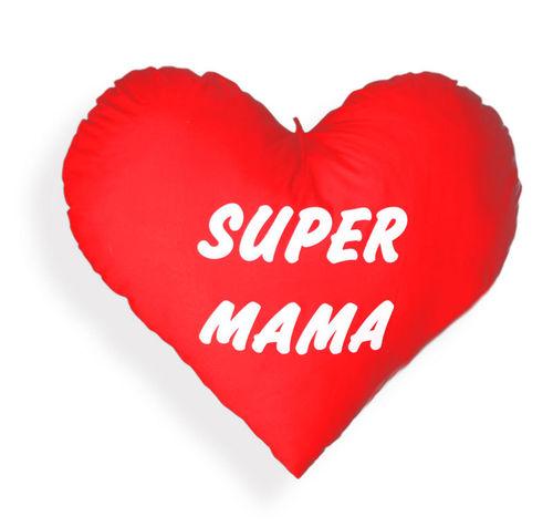 Herz Kissen - Plüschkissen - Kissenherz - Herzkissen - Extra groß 60 cm Super Mama