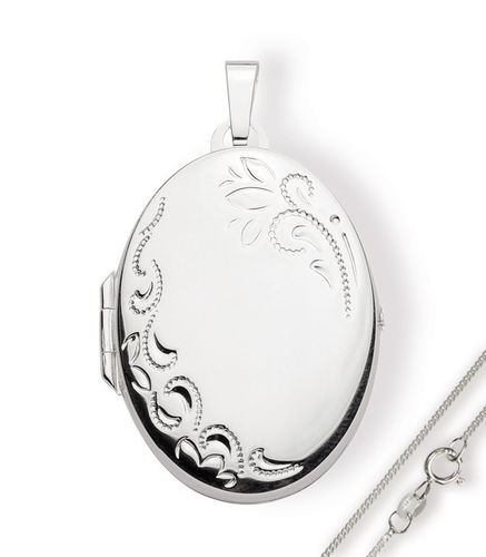 Medaillon Oval 925 Silber Herz zum öffnen für Bildereinlage/ 2 Fotos Amulett + Kette