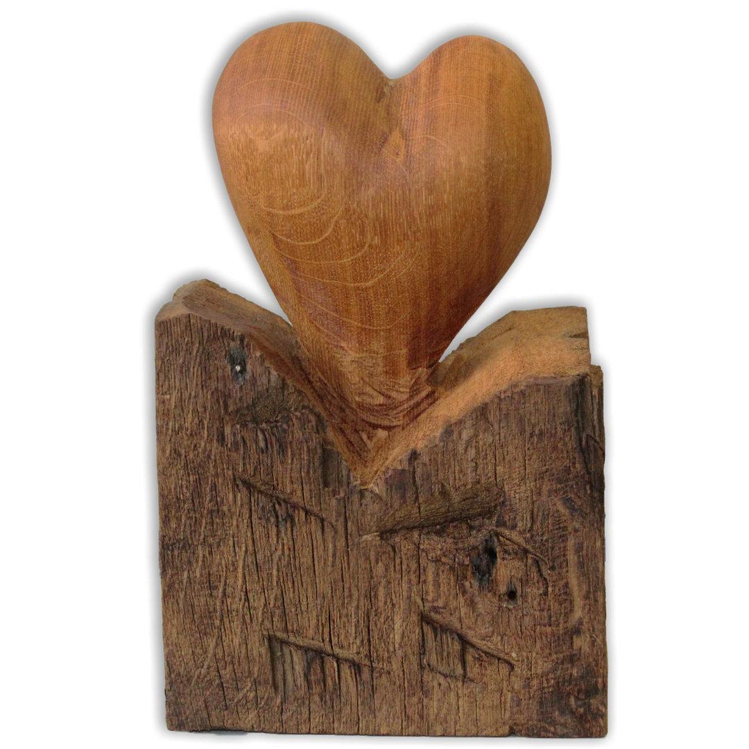 Herz Skulptur kunstvolle Handarbeit aus Holzbalken über 200 Jahre - Aufsteller Holz-Herz