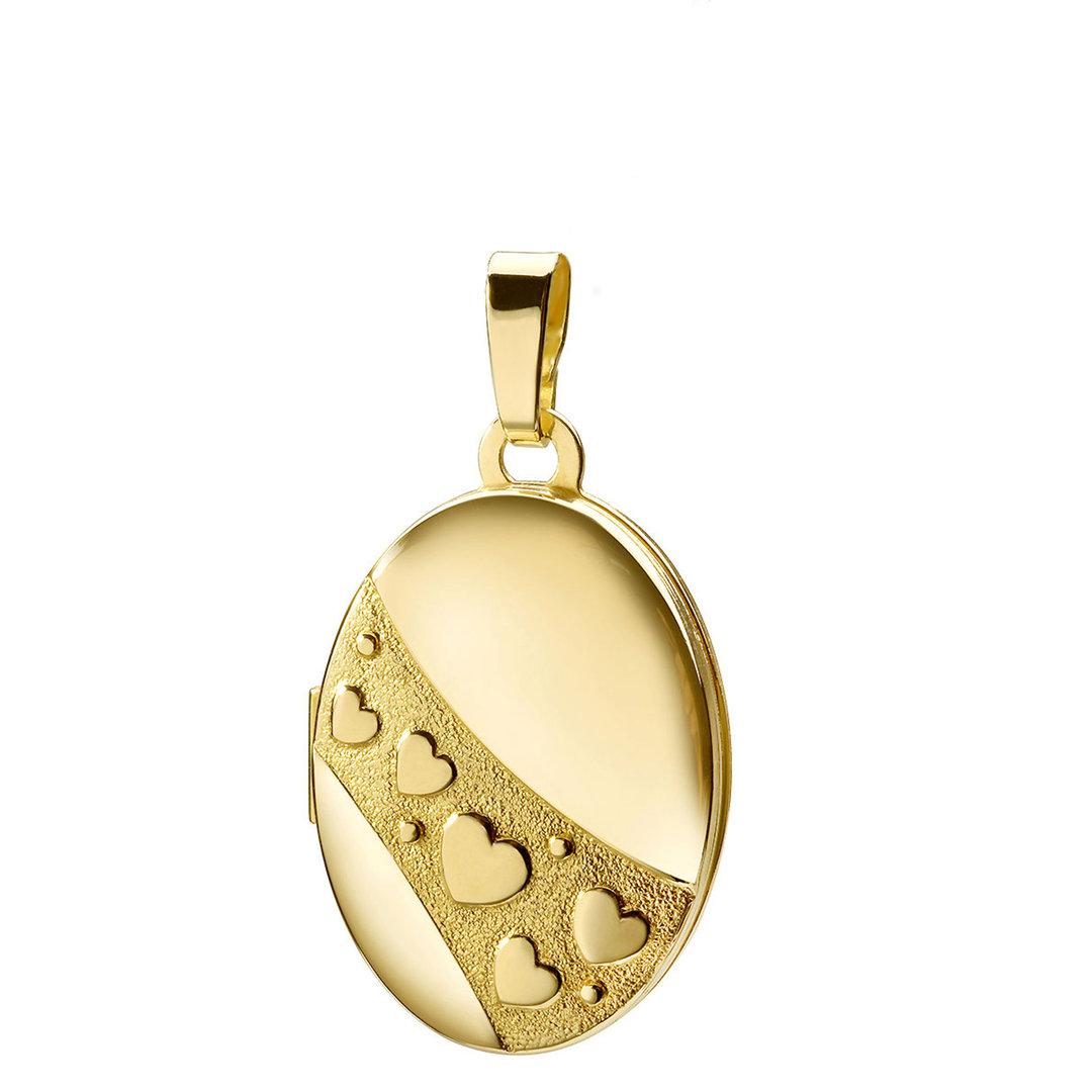 Medaillon oval mit Herzen 333 Gold Muttertag Valentinstag Liebe Schmuck Amulett für 2 Fotos